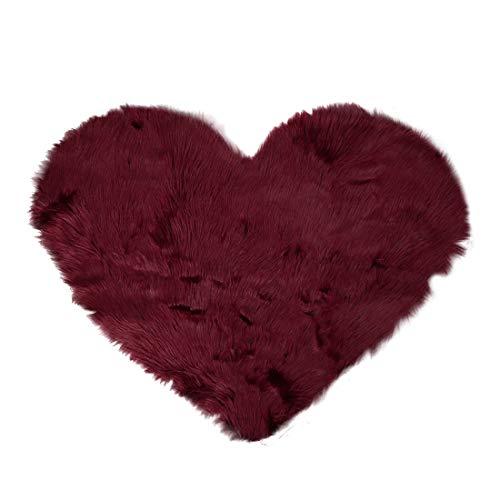 Sourcingmap - Alfombra de piel de oveja sintética con forma de corazón, de lana de imitación antideslizante, suave felpa, alfombra de área de dormitorio, sofá o suelo granate