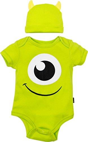 Disney Pixar Monsters Inc. Mike Wazowski Baby Boys' Costume Bodysuit Hat Green (24 Months)