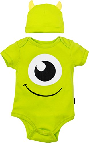 Disney Pixar Monsters Inc. Mike Wazowski Baby Boys' Costume Bodysuit Hat Green (3-6 Months)