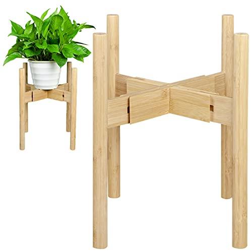 BEIAOSU Soporte ajustable para plantas de madera, para jardín, balcón, interior y exterior, altura 38 cm