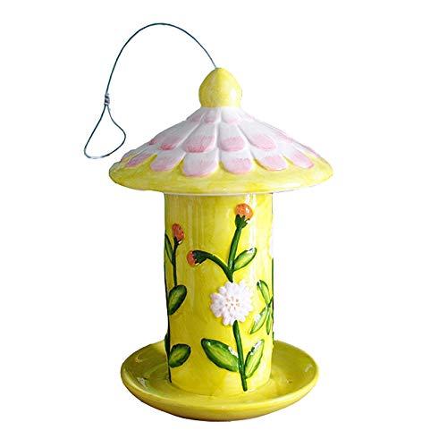 HWLL Comedero para pájaros Comedero de Pájaros Cilíndrico para Exteriores de Cerámica con Orificio de Drenaje de Bandeja, Caja de Comida para Pájaros Colgante para Decoración de Villa y Jardín
