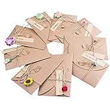 Tarjeta de Felicitación y Sobres,9 Multipack Papel Kraft Sobres con Flores Blanco Retro Kraft Tarjetas Grande para Regalo Cumpleaños Boda Aniversario Navidad