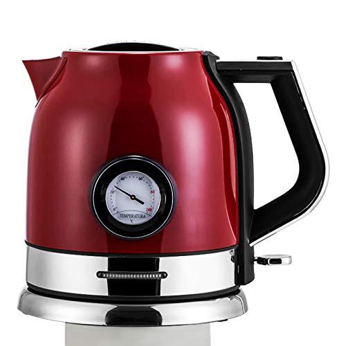 Innotic 1.8L Retro Wasserkocher Edelstahl Vintage Kettle mit Kalkfilter, Teekessel Wasserkocher mit Temperaturanzeige Teekocher Elektrisch Electric Heater Wasserkocher Retro.