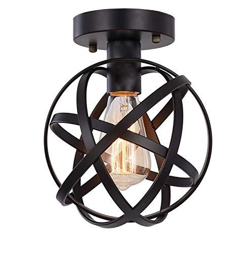 HOXIYA - Lámpara de techo semiempotrada con jaula de metal negro para pasillo, entrada, porche, dormitorio, cocina, granja