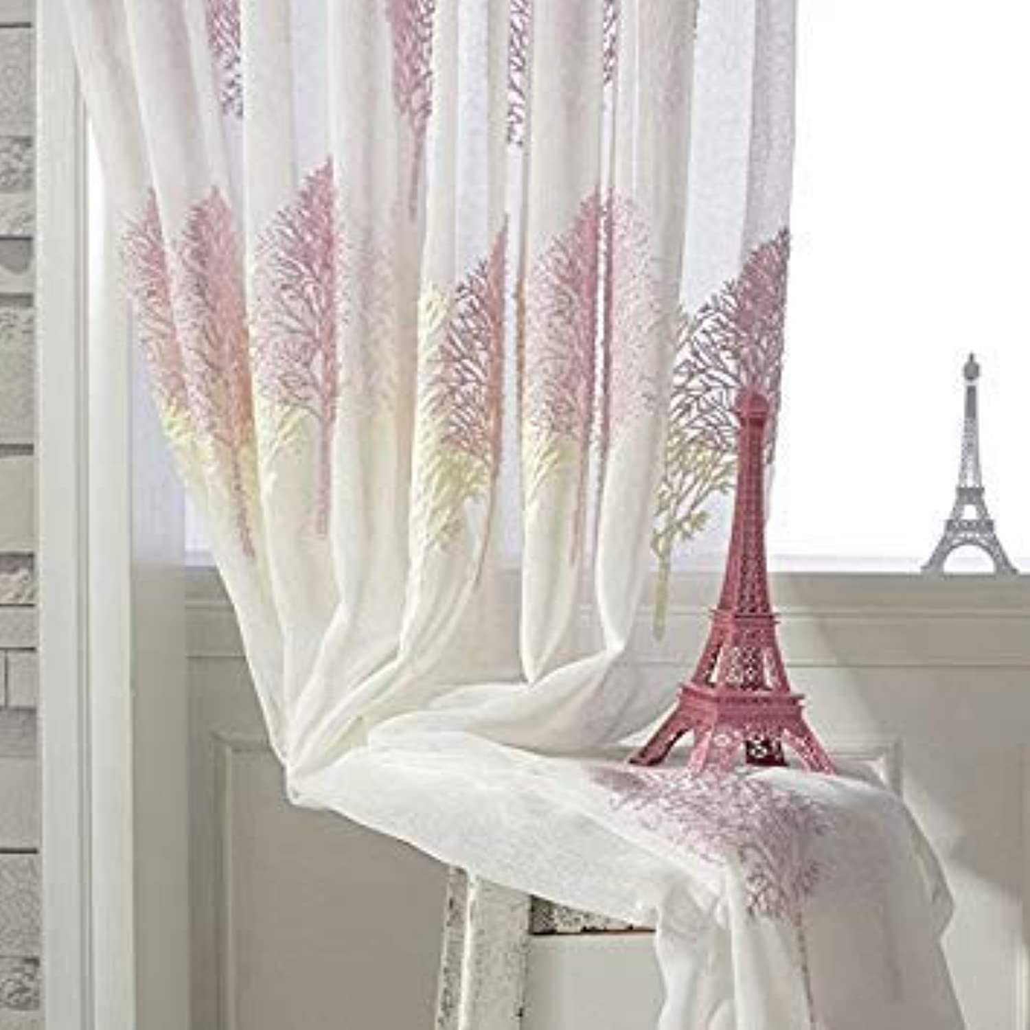Double color Tree Embroidered Tulle Curtains Sheer Curtain Embroidery Window Volie Cortinas Rideau Voilage Gordijnen CL-123(Processing  Hook,Size  W100xH270 cm)