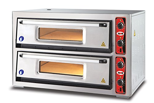 GMG Profi Pizzaofen CLASSIC PF 9262 DE für Gastronomie, 2 Backkammern / Doppelkammer dual - 6 + 6 x Ø 30 cm Pizzen - 92x62x15cm, bis zu 450°C (Ober- und Unterhitze getrennt regelbar), 12.000 Watt