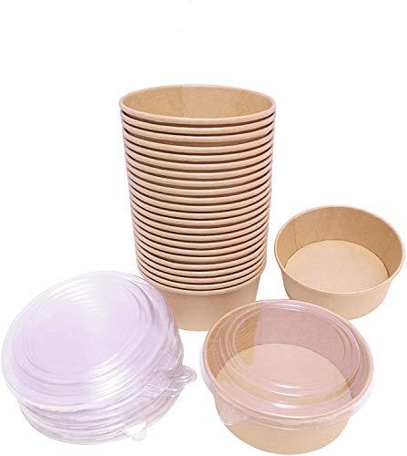FUCHANGLI 25Pack 35oz Paper Bowls Disposable with Lids,Kraft Paper Soup Bowls,Soup Containers for Restaurants,Delis and Cafes