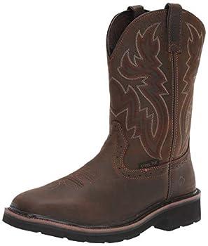 WOLVERINE Men's Rancher ST Work Boot, Dark Brown/Rust, 12 M US