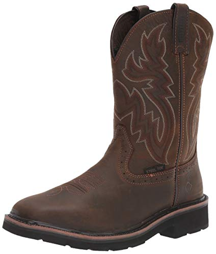 WOLVERINE Men's Rancher ST Work Boot, Dark Brown/Rust, 9.5 3E US
