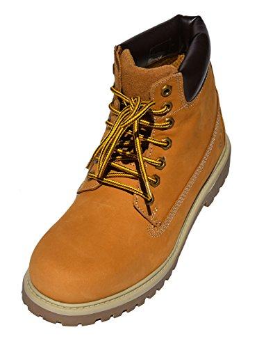 MADSea Damen Herren Leder Schnürstiefel Street Classic Boots gelb, Farbe:gelb, Größe:45 EU