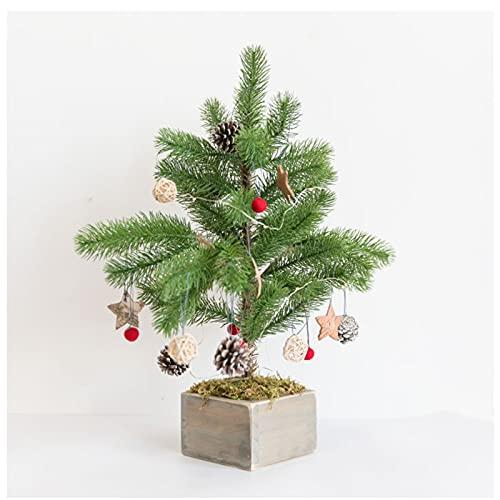LAHappy 50 cm Plantas Artificiales Árbol de Navidad de Mesa Artificial con Luces Led y Adornos, para la DecoraciÓn de Vacaciones en el Hogar