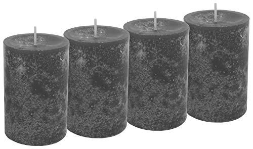Unbekannt 4 Stumpenkerzen Kerzen Grau Anthrazit 6cm Adventskranz Weihnachten Tischdeko Deko
