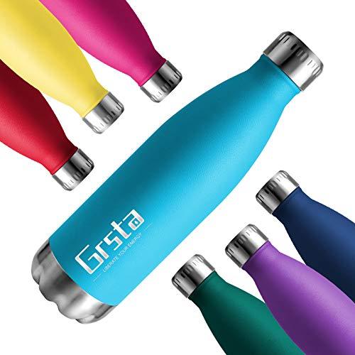 Grsta Botellas De Agua, Botella Agua Acero Inoxidable 350/500 / 650 / 750ml Botellas sin BPA de Frío/Caliente Termo Adecuada para Niños/Adultos, para Al Aire Libre Deportes Camping Y Ciclismo