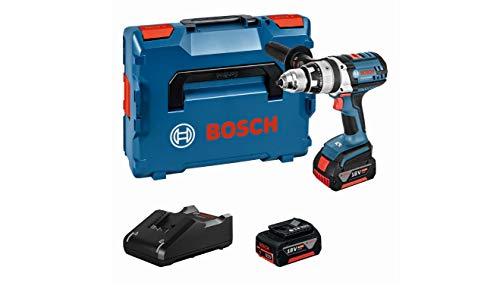 Bosch GSB 18 VE-2-LI Professional - Taladro con percusión, 2 baterías 4.0 Ah, cargador rápido, empuñadura adicional, L-BOXX (18 V, par de giro máx 85 Nm, broca maxima 13 mm)