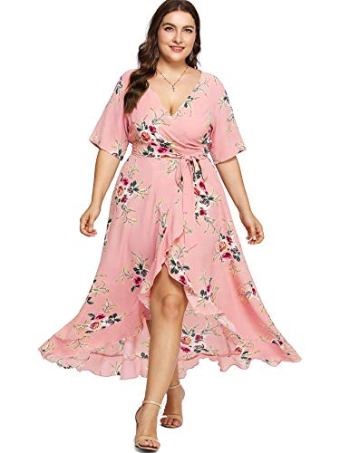 Milumia Plus Size Short Sleeves Wrap V Neck Belted Empire Waist Asymmetrical High Low Bohemian Party Maxi Dress A-Pink 1X