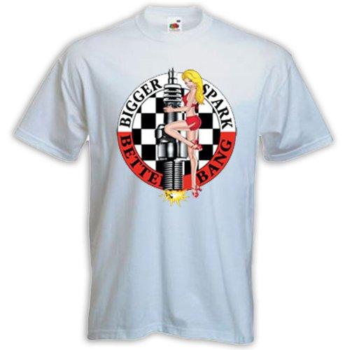 Hot Rod T-Shirt Zündkerze 1 weiß Vintage Rockabilly Tattoo Rat Rod Gr. L