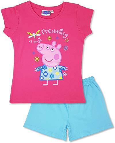 Peppa Pig - Mädchen Schlafanzug Kurz, Shorty Kinder Pyjama (122-128)