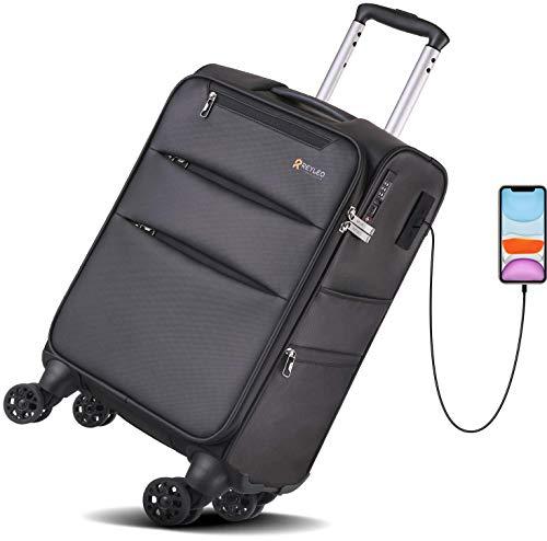 REYLEO スーツケース ビジネススーツケース2*USB充電ポート 多収納ポケット フロントポケット サイドポケット 軽量 大容量 防水加工 TSAロック 超静音 360自由回転 4輪の双輪 旅行出張 LUG20B