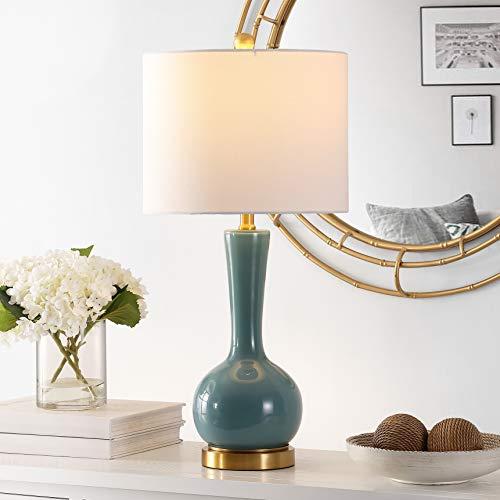 Safavieh Lighting Collection Gaetna 27-inch Blue Glass Table Lamp (LED Bulb Included) TBL4255B