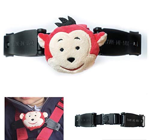 Escape Me Not Autositz-Geschirr mit Brustclip, kein Einfädeln erforderlich, hilft zu verhindern, dass Kinder ihre Arme aus den Gurten nehmen – Affen-Design