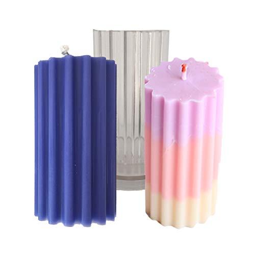 3D Kerzen Gießformen Kerzenform zum Gießen Craft DIY Kerze Aromatherapie Mold, Kreative Stereo Kerzen-Form Kunststoffform Seife Formen, für Paraffin Wachs Bienenwachs (Zylindrischer Grobzahn)