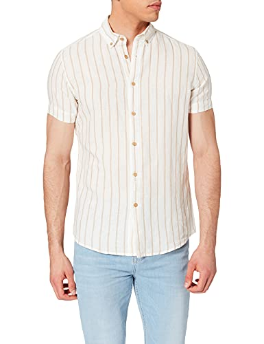 Springfield Camisa Lino Manga Corta Rayas, Beige, L para Hombre