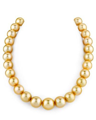 12- 15 mm, colore: oro con perla coltivata in acqua salata The Pearl Source-Collana di lunghezza, 17 cm, chiusura a moschettone in oro 14 k e Oro bianco, colore: oro, cod. 1