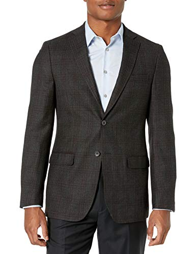 DKNY Men's Donahue Single Breasted Notch Lapel Plaid Slim Fit Blazer, Grey, 42 Short