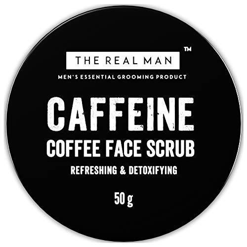 The Real Man Gommage détoxifiant à la caféine et au café 50 g Avec extrait d'aloe vera et de café brun activé naturel.