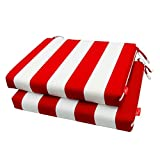 Pcinfuns Outdoor/Indoor All Weather Squared Seat Cushion,Patio Chair Cushions,18.5' x 16',Red White,Set of 2