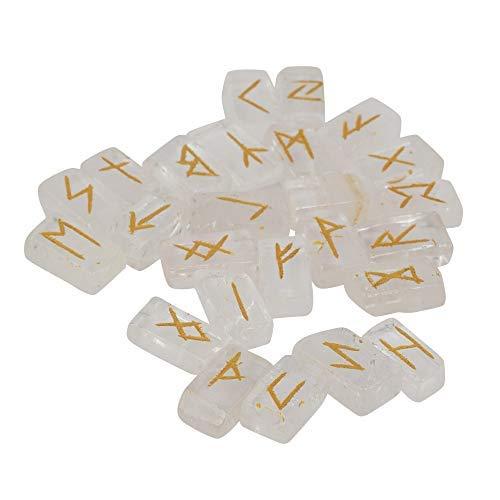 Crocon Runensteine aus klarem Quarz mit Älterem Futhark-Alphabet, graviertes Symbol für Energiegenrator, Chakra, Balance, EMF-Schutz, Heimbüro, dekorativer Stein, Größe: 20–25 mm