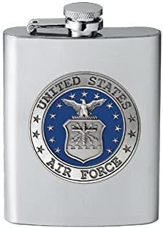 USAF Air Force 8 oz Stainless Hip & Travel Flask - Pewter & Enamel