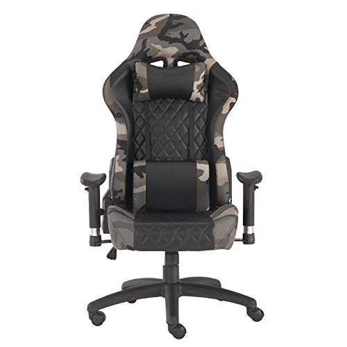 YJCFurniture Gaming Chair Racing Office Computer Game Chair Ergonomic Backrest and Seat Height Adjustment Recliner Swivel Rocker with Headrest and Lumbar Pillow Chair, Camouflage