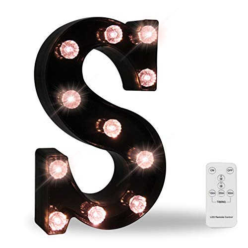 Black Marquee Letters With Lights, LED Letter Light Up Letters Battery Operated Dimmable for Wall Decor, Wedding, Birthday Decorations -Black Letter S