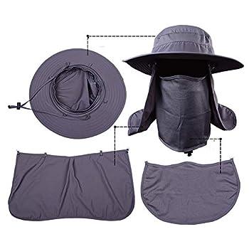 WZJN Chapeaux de Grand Seau avec Un Chapeau de Soleil Coupe-Vent d'été à Large Bord SPF 30+ Chapeau de pêche de Protection Solaire Chapeau de pêcheur,D