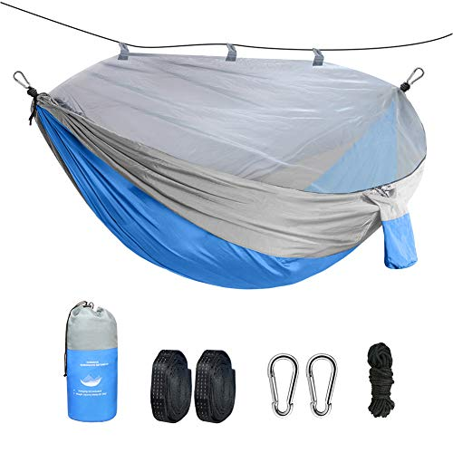 Megawodar 2 Person Camping Hammock with Mosquito Net -Ultralight Hammock Tent Bundle with Bug Netting, Straps, and Carabiners (Blue)