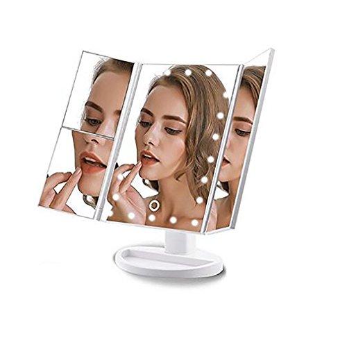 Portable Trois Pliant Table LED Lampe Lumineux Maquillage Miroir Cosmétique Miroir Réglable Table sur Comptoir Lumière Miroir,White
