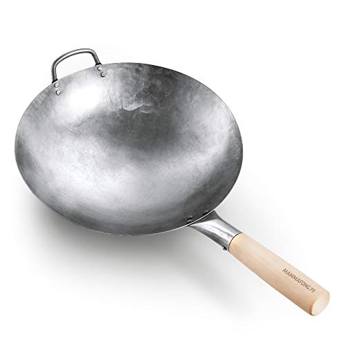 Round Bottom 14-inch Traditional Carbon Steel Wok Pan - Authentic Hand Hammered Woks and Stir Fry Pans - Pow Wok with no chemical coating by Mammafong