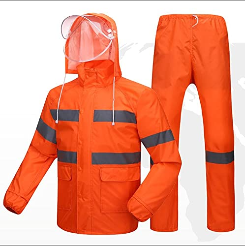 Impermeable impermeable dividido, pantalones de lluvia para adultos, cinta reflectante de seguridad, se aplica a montar al aire libre en los pies (color: naranja, tamaño: XXL)