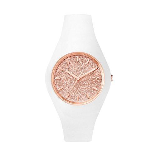 ICE-WATCH ICE Glitter White Rose-Gold - Reloj Blanco para Mujer con Correa de Silicona, 001350 (Medium)