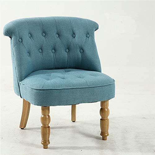 GYCOZ Decoración del hogar, silla de acento casual con botones tapizados para sala de estar o dormitorio, silla lateral moderna de mediados de siglo sin brazos (color: azul)