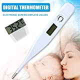 Syfinee Body Thermometers, Digital LCD Temporal Thermometer, Waterproof Oral Temperature Measurement Tool Digital LCD Thermometer Body Safe Under Arm Oral Temperature Measuring for Baby Adult