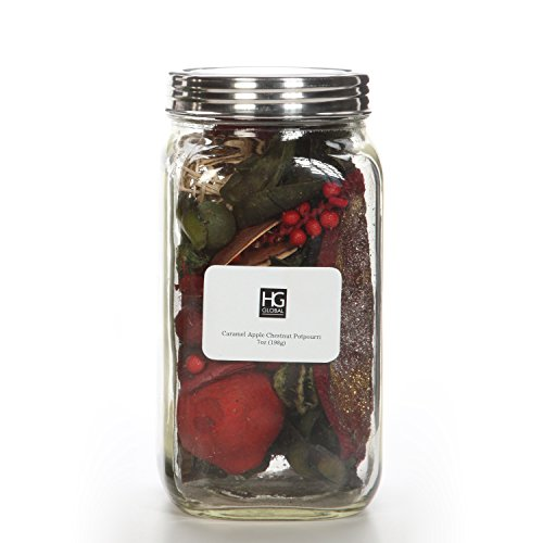 Hosley Mason Jar with 7 Ounce of Caramel Apple Chestnut Dried Potpourri for Wedding or Special Occasion for Everyday Use Wedding Events Aromatherapy Spa Meditation P2