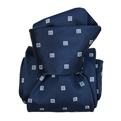 Segni et Disegni. Cravate artisanale. Grenade, Soie. Bleu, Pois. Fabriqué en Italie.