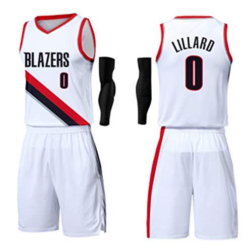 0# Damian Lillard Basketball Jersey Anzug für Kinder-Portland Trail Blazers Herren T-Shirt + Shorts Athlete's Jersey Mesh Schnelltrocknendes ärmelloses Fans Sweatshirt-Silver-XXXXXL