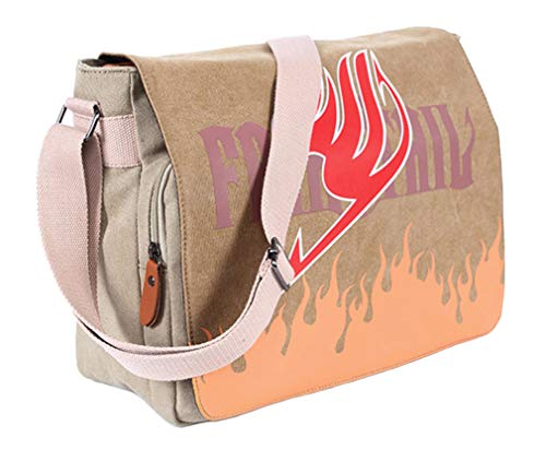 Gumstyle Fairy Tail Vintage Canvas Satchel Shoulder Crossbody Messenger Bag for Students Anime Fans Cosplay