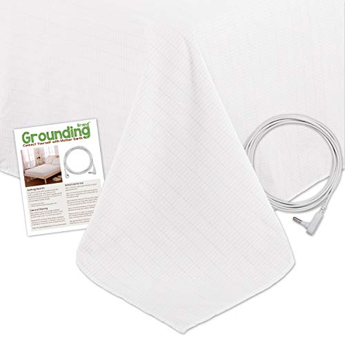 Grounding Brand Flat Queen Size Sheet with Earth Connection Cable, 400TC Conductive Mat with Pure Silver Thread for Better Sleep and Healthy Earth Energy, White