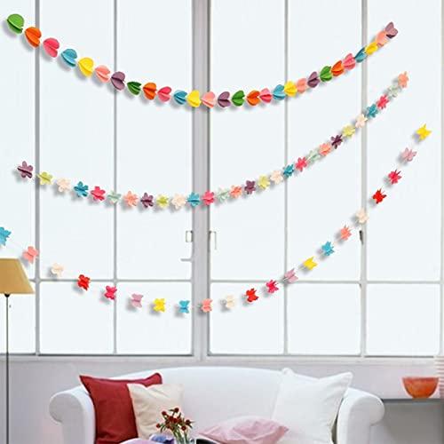Ghirlanda di carta da 6 m, decorazione per esterni, 72 bandierine per compleanno, per matrimoni, feste di compleanno e camera da letto delle ragazze (amore/stella/farfalla)