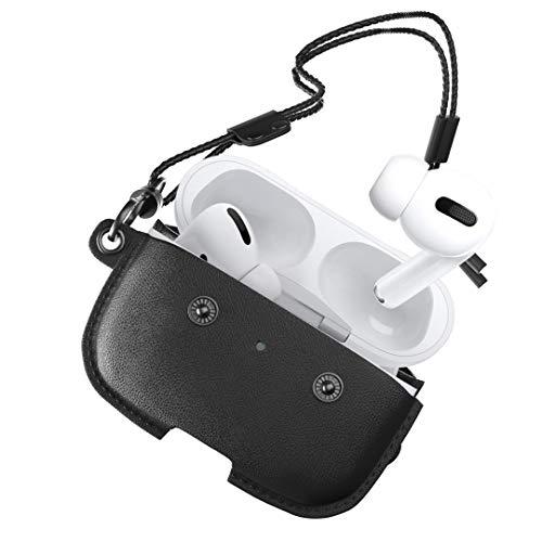 Woodcessories - AirPod Pro leren koffer met ketting, AirCase (Zwart)