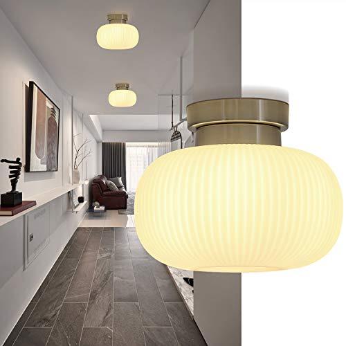 ZMH Deckenleuchte Glas Weiße Wohnzimmerlampe Deckenlampe Schlafzimmer mit E27 Fassung 1-Flammig Kronleuchter Pefekt für Flur Balkon Wohnzimmer Treppen Korridor (ohne Birne)